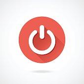 Shut down icon. Vector round shutdown icon with long shadow