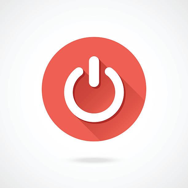 abgestellt symbol. vektor-runde schließung symbol mit langen schatten - schalter stock-grafiken, -clipart, -cartoons und -symbole