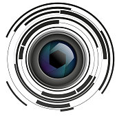 Vector illustration of shutter apertures with abstract circles on plain background