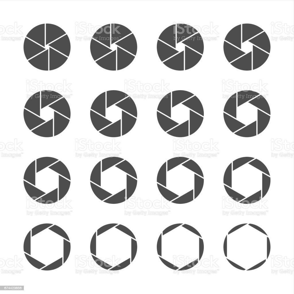 Obturateur Icons - série grise - Illustration vectorielle