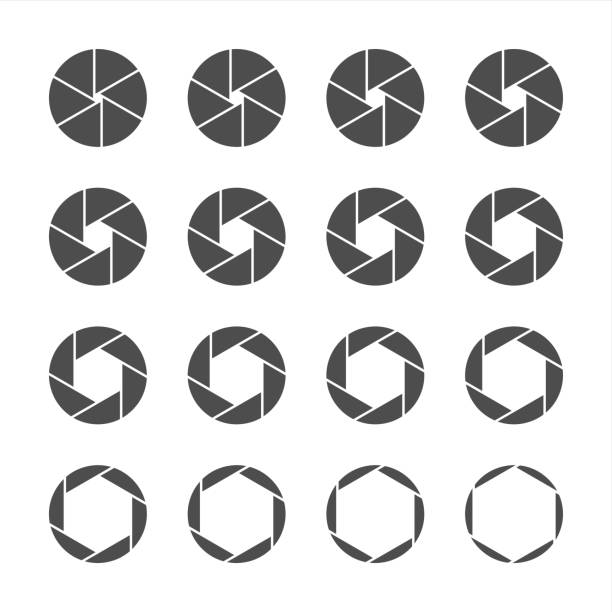 Shutter Icons - Gray Series Shutter Icons Gray Series Vector EPS File. aperture stock illustrations