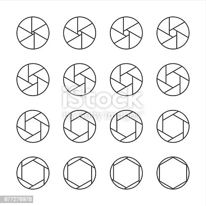 Shutter Icons Line Series Vector EPS File.