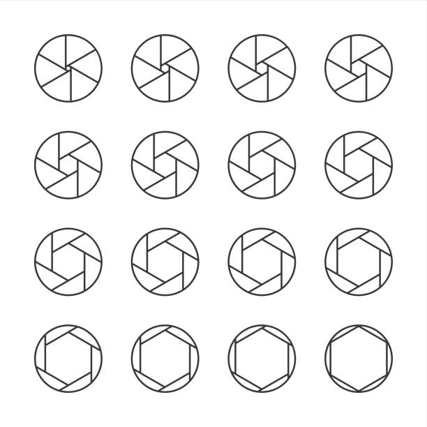 Shutter Icons - Line Series Shutter Icons Line Series Vector EPS File. aperture stock illustrations