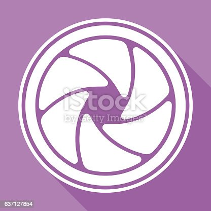 Photo camera diaphragm icon. Global colour used