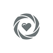 Shutter with heart icon,vector illustration. EPS 10.
