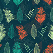Tropical Leaves Seamless Pattern - elegant leaves on dark blue background - great for Textiles, Fabrics, Wallpapers, banners, Cards - surface design