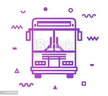 Shuttle bus outline style icon design with decorations and gradient color. Line vector icon illustration for modern infographics, mobile designs and web banners.