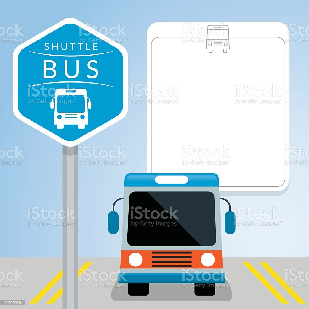 Shuttle Bus with Sign, Front View - Illustration vectorielle