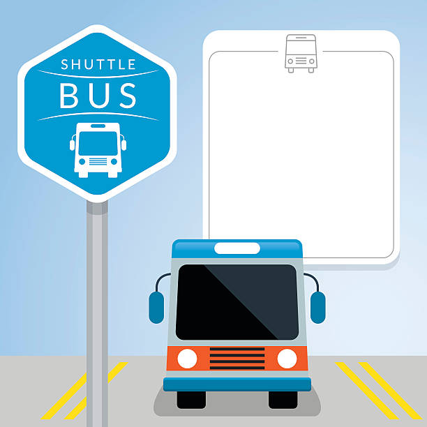 stockillustraties, clipart, cartoons en iconen met shuttle bus with sign, front view - bushalte