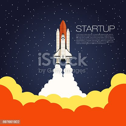 istock Shuttle Launch. Spaceship and space background. Projects template for business 597661922