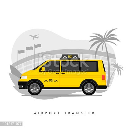 Shuttle Services Flat Vector Cartoon Illustration. Transfer. Taxi Riding on Road, Airport Building, Plane Taking Off Isolated Drawing. Terminal. Cityscape. Transport Rental. Automobile, Cab.