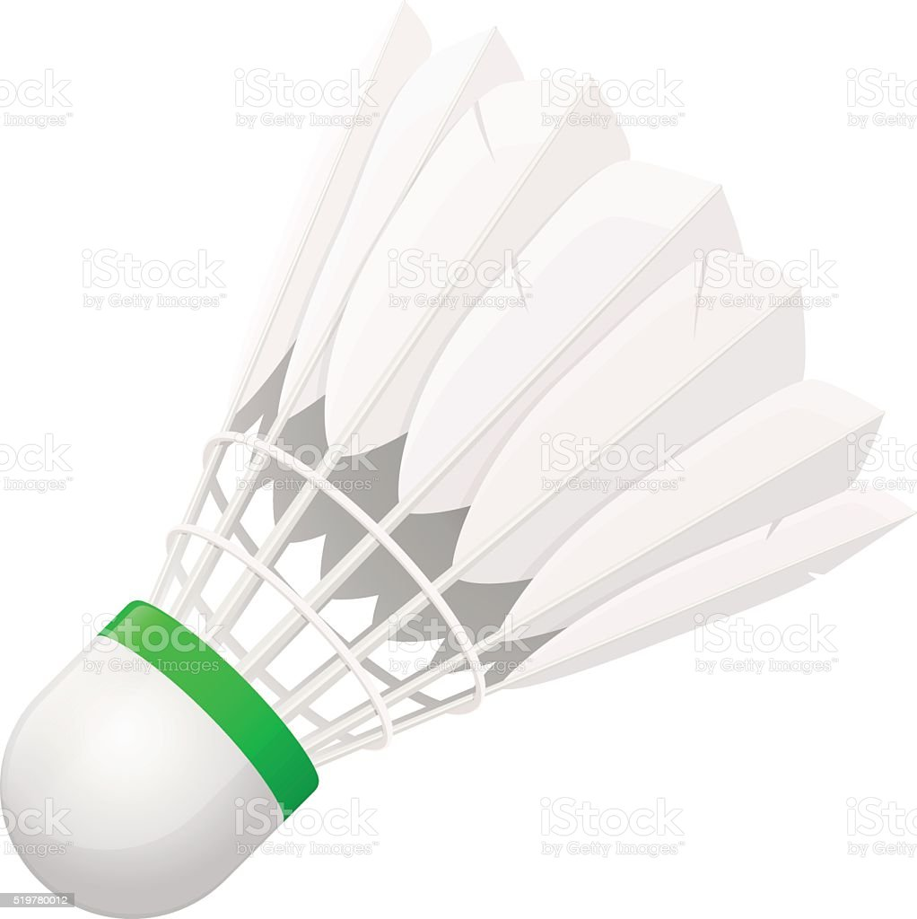 Shuttlecock for badminton from bird feathers vector art illustration