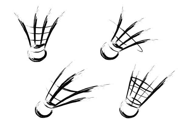 Shuttlecock speeding vector art illustration