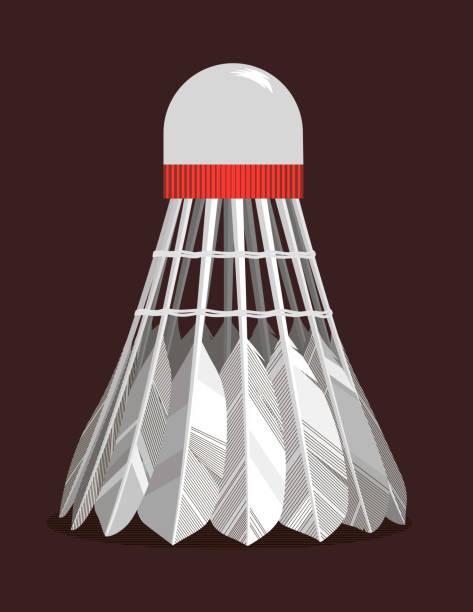 Shuttlecock Shuttlecock on dark background shuttlecock stock illustrations