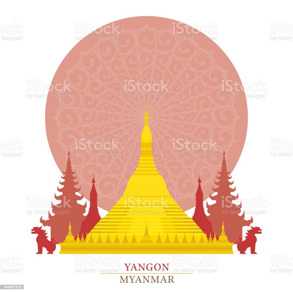 Shwedagon, Yangon, Myanmar, with oriental background vector art illustration