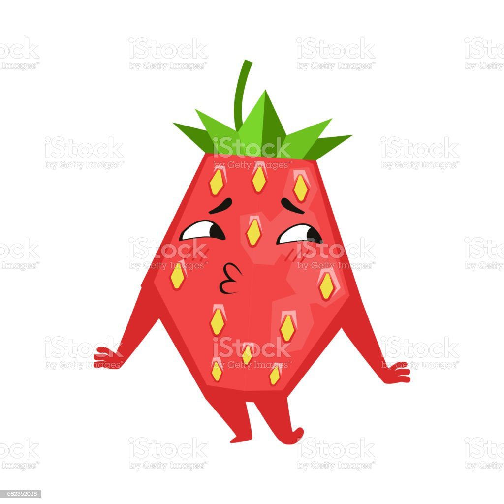 Shy funny strawberry. Cute cartoon emoji character vector Illustration royalty free shy funny strawberry cute cartoon emoji character vector illustration stockvectorkunst en meer beelden van bes