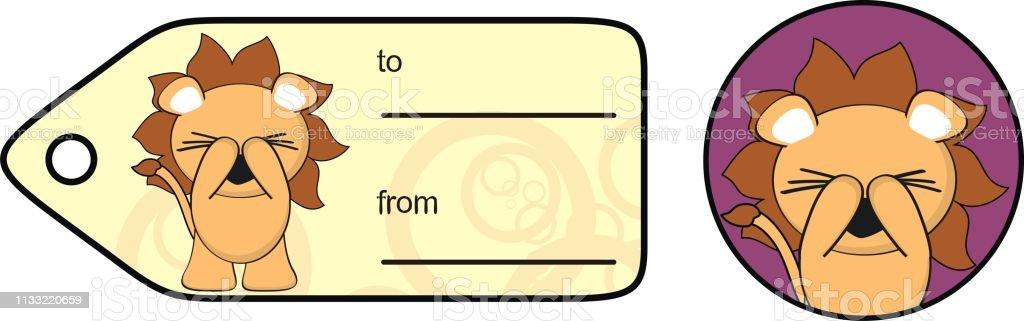 Autocollant De Carte Cadeau De Dessin Animé Kawaii Lion