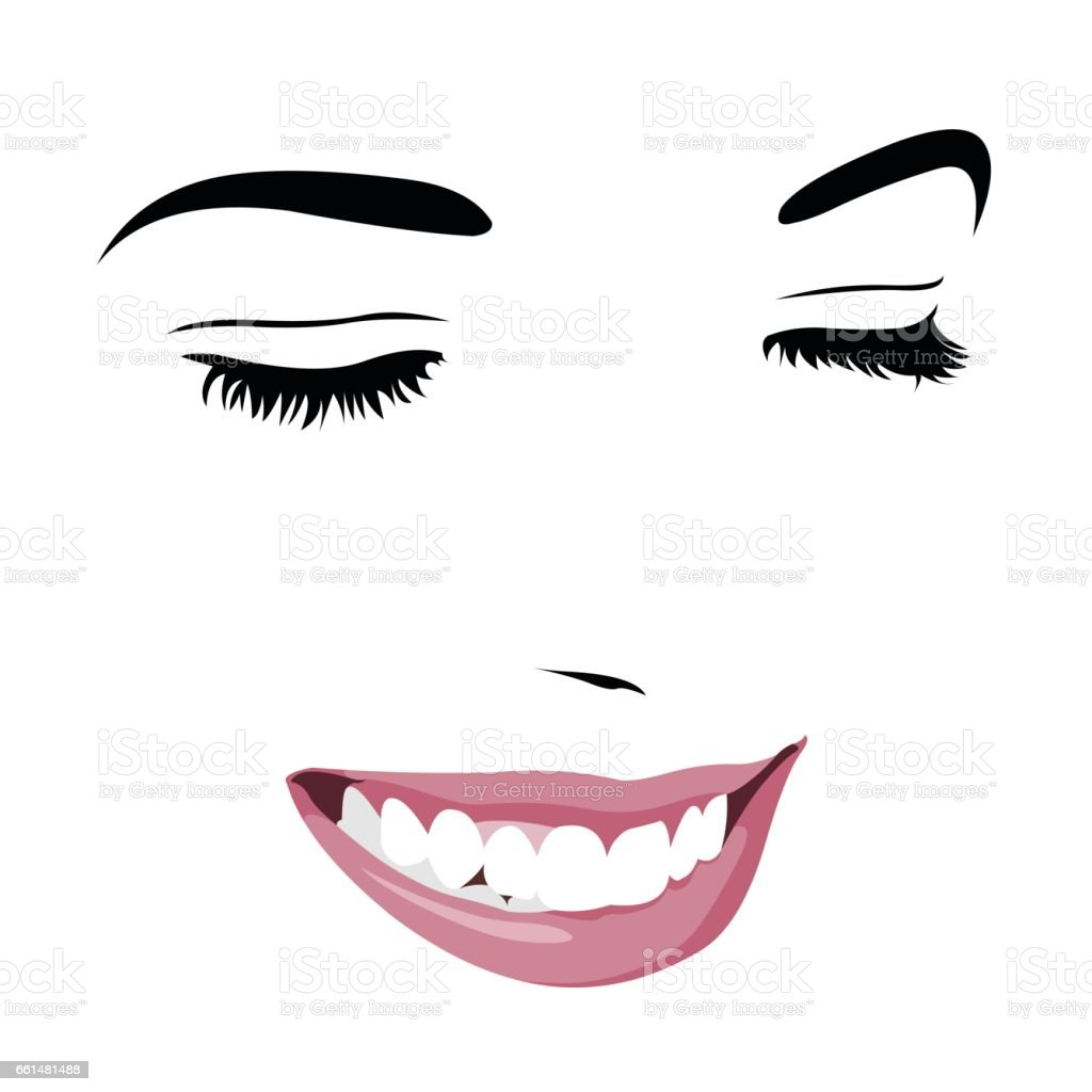 Shy timid girl smiling with closed eyes. Abstract pop up style clip art. vector art illustration