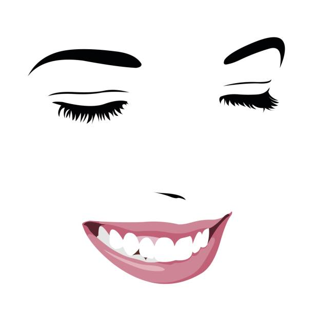 shy timid girl smiling with closed eyes. abstract pop up style clip art. - toothy smile stock illustrations