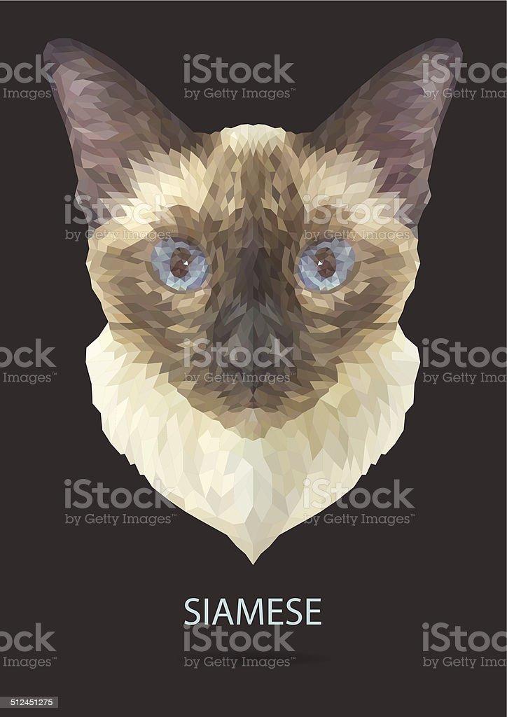 Kot Syjamski Wektor Wielokąt Geometryczne Stockowe Grafiki