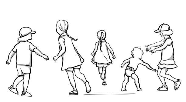 Geschwister spielen – Vektorgrafik