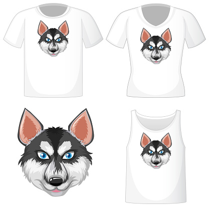 Siberian husky cartoon character logo on different white shirt isolated on white background