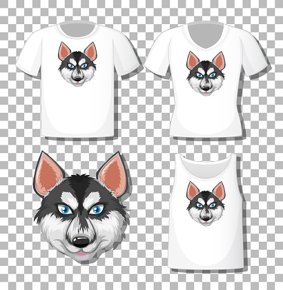 Siberian Husky cartoon character with set of different shirts isolated on white background