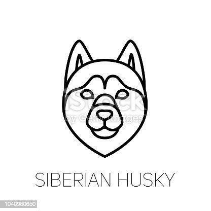 Siberian Husky Linear Face Icon Isolated Outline Dog Head Vector