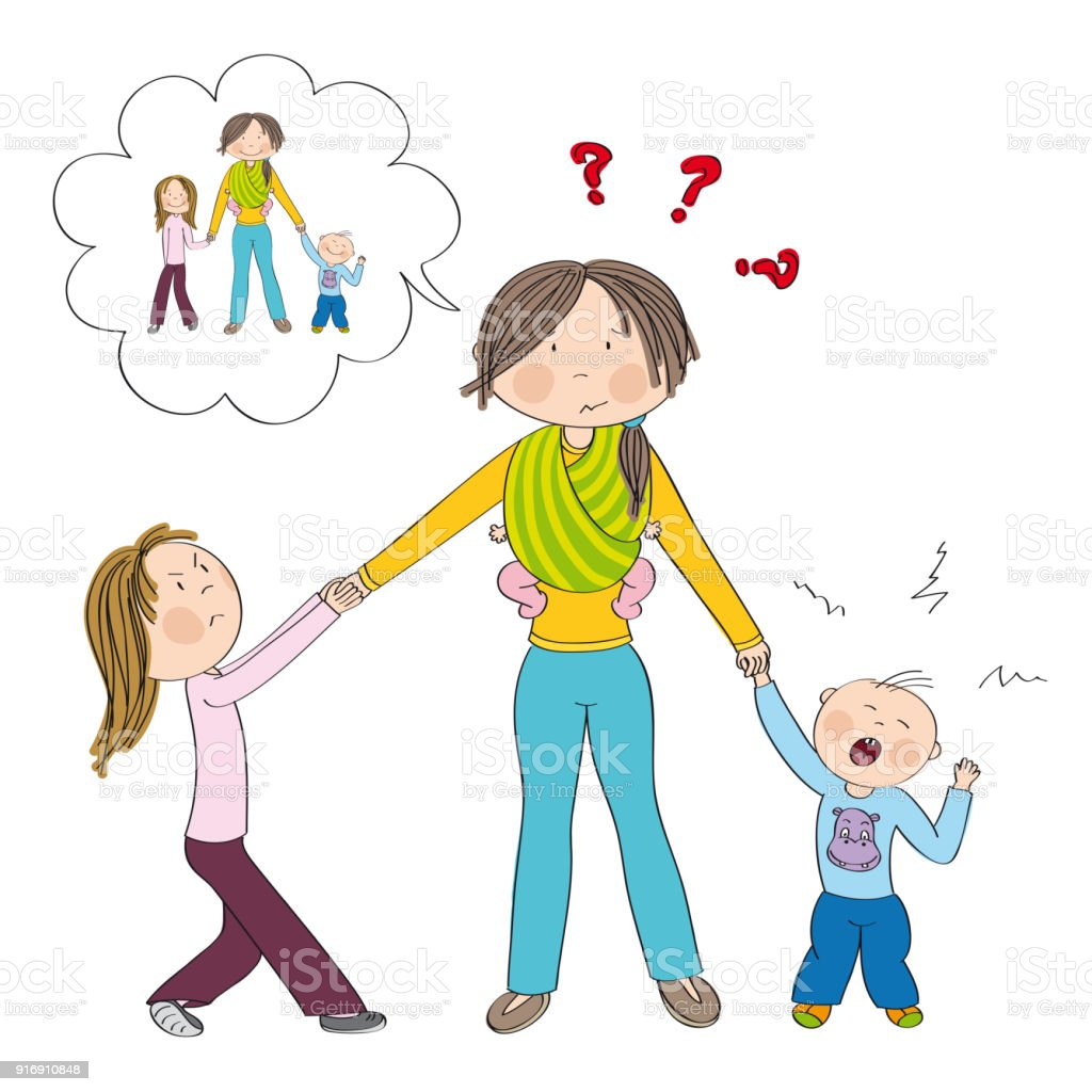 Sibling rivalry. Naughty kids (siblings) fighting mother's attention. Mum is imagining having nice kids. vector art illustration