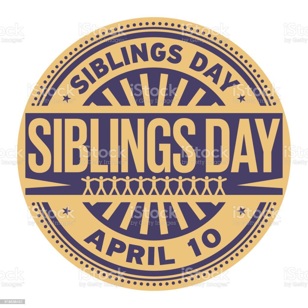 Siblings Day stamp vector art illustration