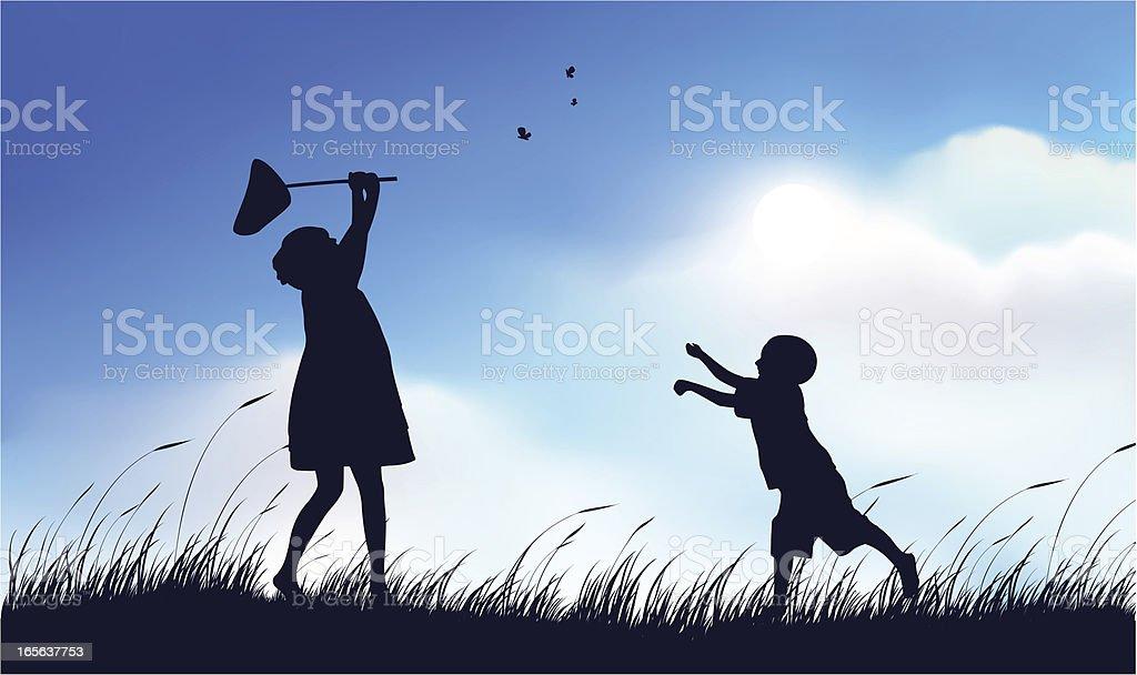 Siblings Playing royalty-free stock vector art