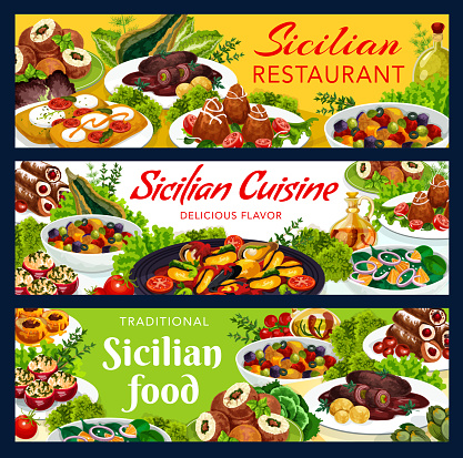 Sicilian food vector gourmet dishes banners set
