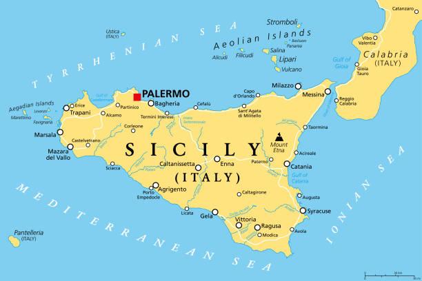 Sicily, autonomous region of Italy, political map vector art illustration