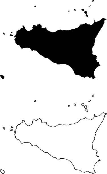 sicily island map vector - sicily stock illustrations