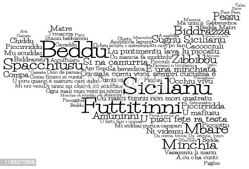 Sicily map made from Sicilian slang words in vector format.