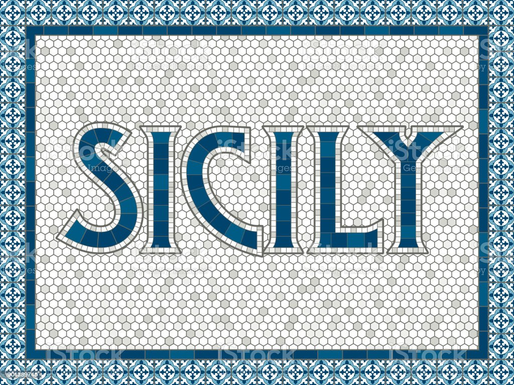 Sizilien Alte Altmodische Mosaik Fliesen Typografie Stock Vektor Art - Alte mosaik fliesen