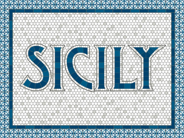 sicily old fashioned mosaic tile typography - sicily stock illustrations