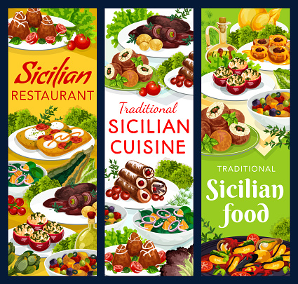 Sicily restaurant dishes sicilian food banners