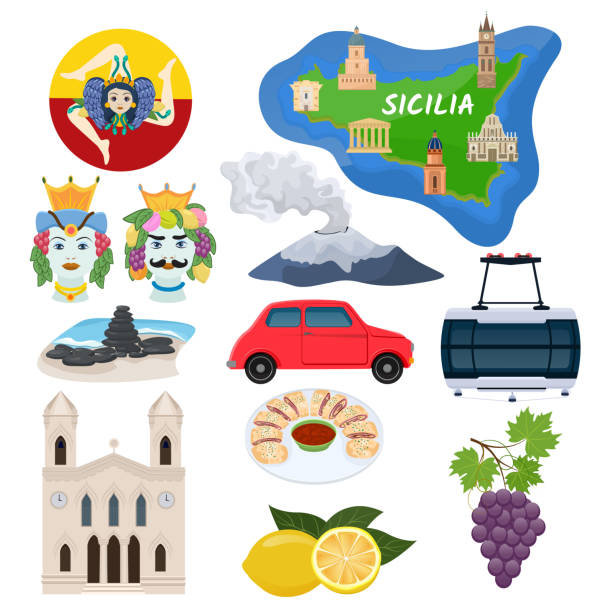 Sicily vector Sicilian island map with cathedral architecture art culture and traditional Italian food illustration tourism set of icons etna volcano ceramic souvenir isolated on white background vector art illustration