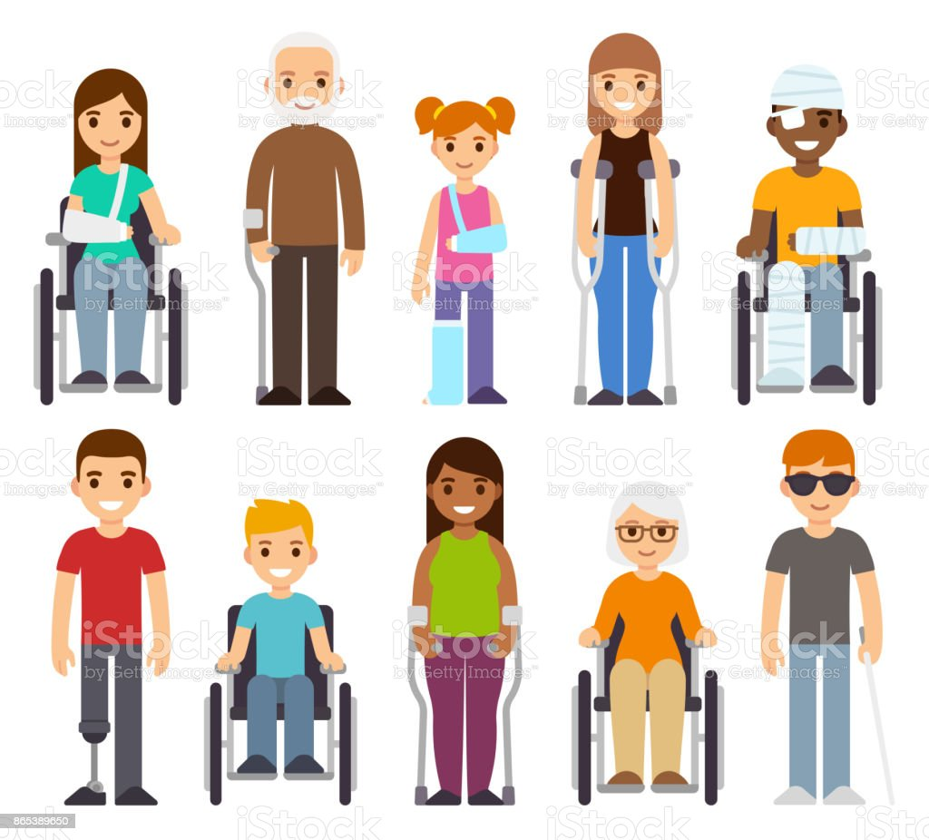 Sick and disabled characters set. vector art illustration