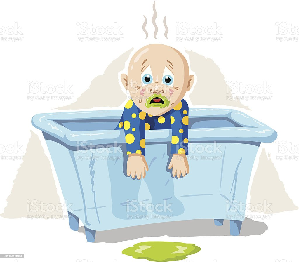 Sick Baby vector art illustration