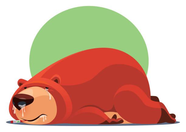 illustrazioni stock, clip art, cartoni animati e icone di tendenza di sick bear lying on floor - china drug