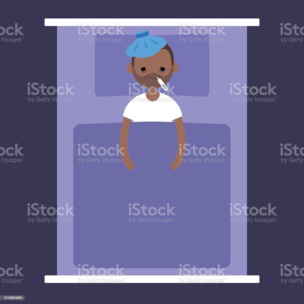 Sick black man lying under the blanket vector art illustration