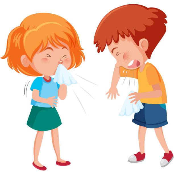 Kranker Junge und Mädchen husten auf weißem Hintergrund – Vektorgrafik