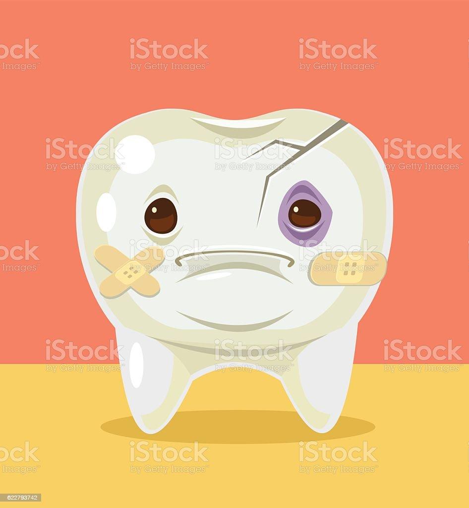 Sick broken tooth character. Vector flat cartoon illustration vector art illustration