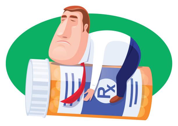 illustrazioni stock, clip art, cartoni animati e icone di tendenza di sick businessman holding pill bottle - china drug