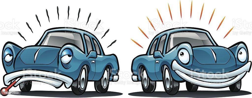Sick Car, Healthy Vehicle royalty-free stock vector art