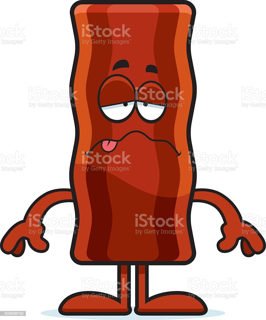 Sick Cartoon Bacon Strip vector art illustration
