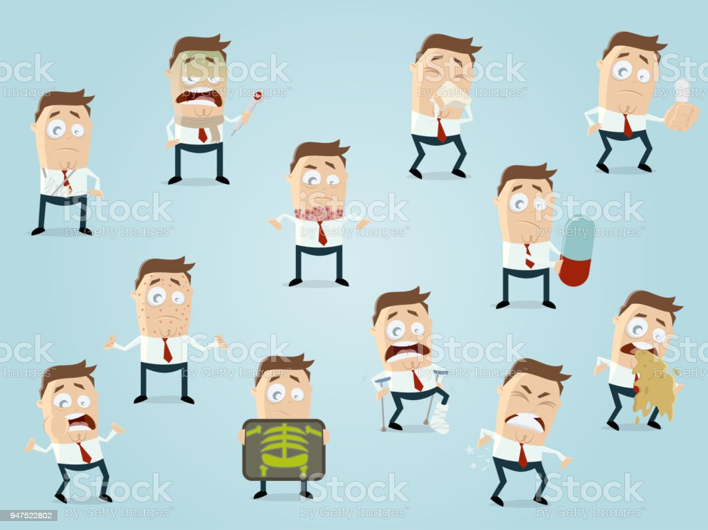 sick cartoon man collection vector art illustration
