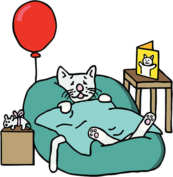 sick cat - get well soon stock illustrations, clip art, cartoons, & icons
